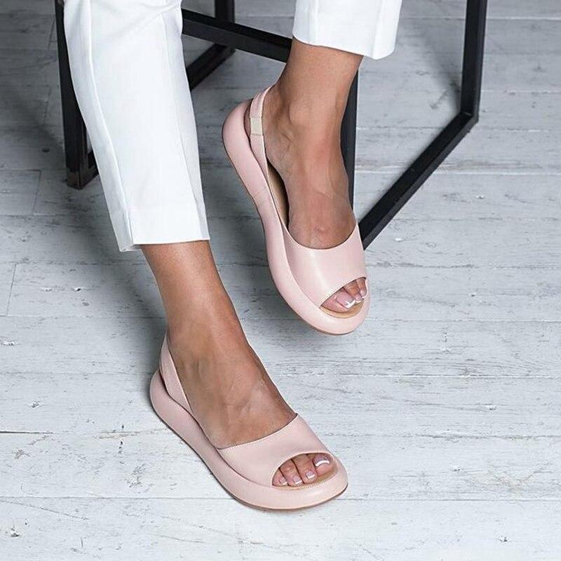 Новинка 2019 года; женские босоножки; Вьетнамки; Летние босоножки на платформе; римские воздухопроницаемые тапочки без застежки; Zapatos De Mujer
