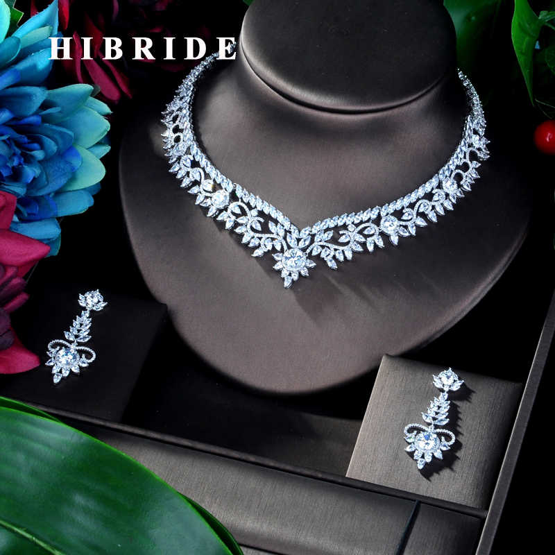 HIBRIDE Elegant Flower Design AAA Cubic Zircon Women Bridal Jewelry Sets For Party Accessories Jewelry Gifts N-941
