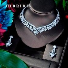 HIBRIDE ออกแบบดอกไม้หรูหรา AAA Cubic Zircon เครื่องประดับชุดเจ้าสาวสำหรับอุปกรณ์ Party เครื่องประดับของขวัญ N 941