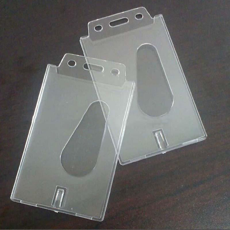 1 PCS Transparent Case Clear Vertical Hard Plastic Badge Holder ...