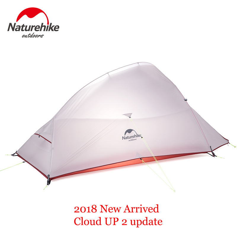 Naturehike Outdoor 2 Person Camping Tent 20D Nylon Silicone CloudUp 2 Update Ultralight Tent With Mat For Couple Hiking Trip nh cloud outdoor single person camping tent anti rain 4seasons ultraportability 20d nylon silicone cated waterproof 8000mm