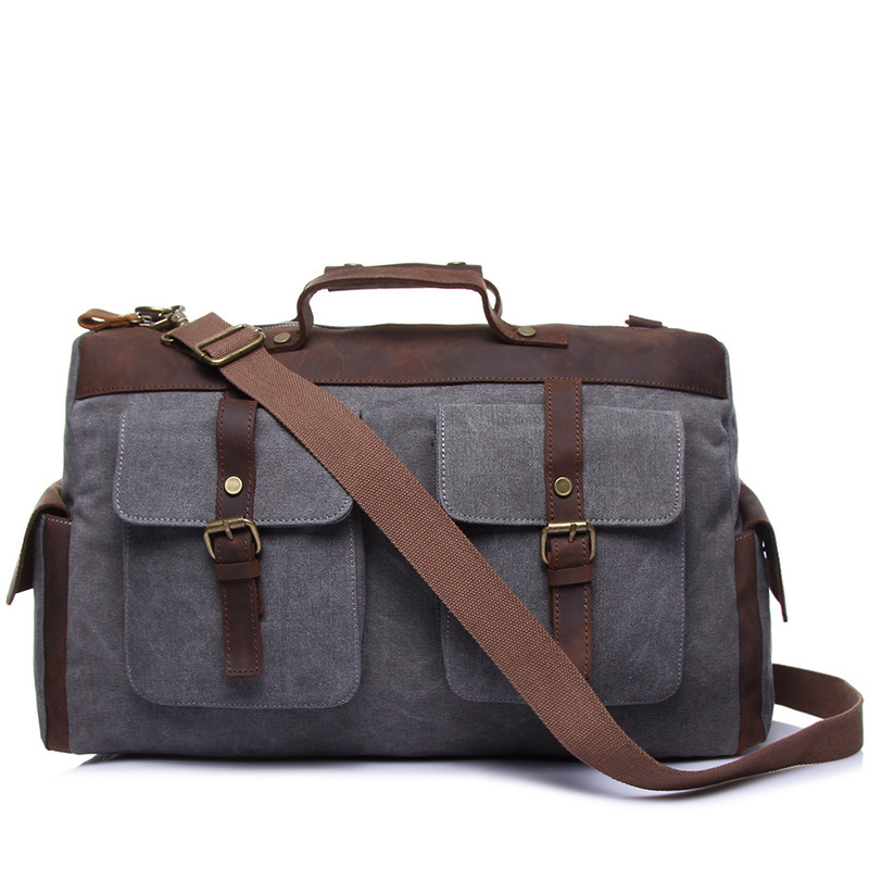 M142 Multifunction Canvas Leather Men Travel Bags Carry On Luggage Bags Men Duffel Bags Travel Tote Large Weekend Bag Overnight mybrandoriginal travel totes wax canvas men travel bag men s large capacity travel bags vintage tote weekend travel bag b102