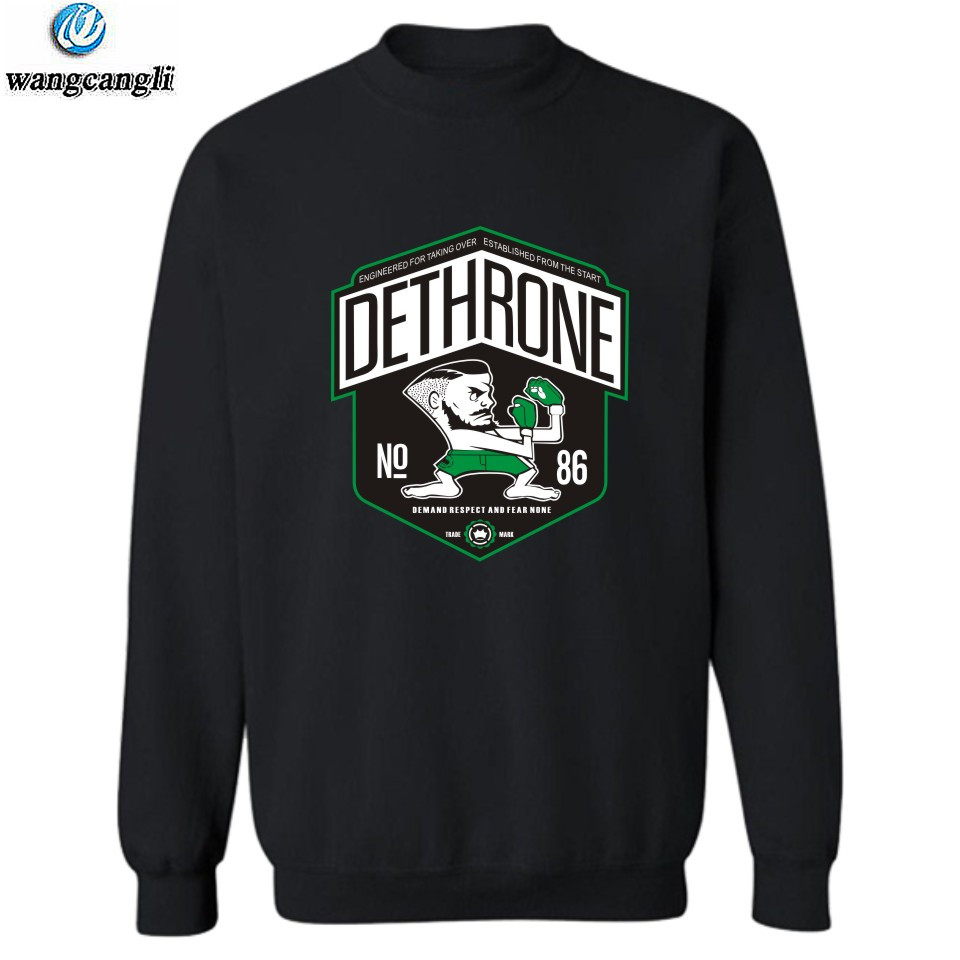 DETHRONE Print Hoodies Sweatshirts Men/women Conor Mcgregor MMA Notorious Hoodie Sweatshirt Men Pullover Tracksuit Plus Size