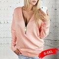 Mulheres Mais Blusas Tamanho 5Xl Moda Zíper V Profundo No Pescoço Camisola camisas do Pulôver Das Senhoras Tops de Manga Longa Sexy Mulheres S 3Xl 4Xl
