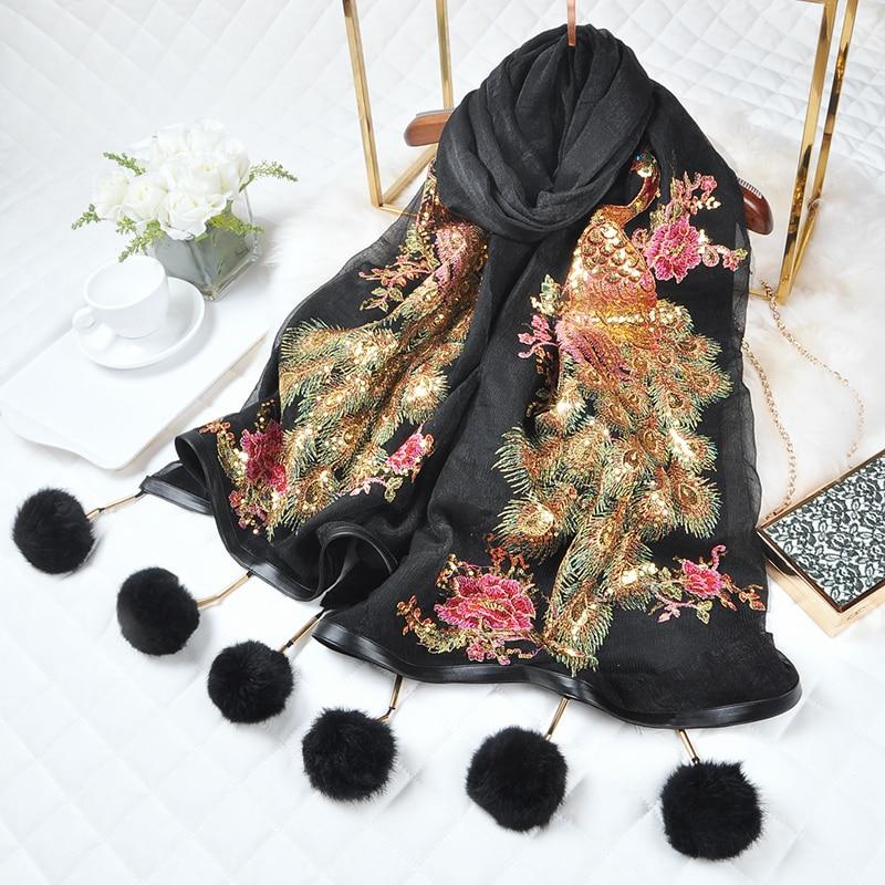 National Style Handmade Embroidery Shawls Autumn Peacock Sequins   Scarf   Warm   Scarves     Wrap   Fashion Female Pashmina Bufanda Shawl