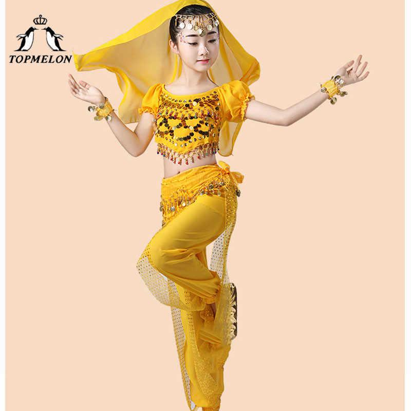 TOPMELON งานรื่นเริง Bellydance สวมใส่สไตล์ยิปซีเต้นรำเครื่องแต่งกายสำหรับสาวชีฟองยาวกางเกงขายาวกับเข็มขัด Sari สร้อยข้อมือ