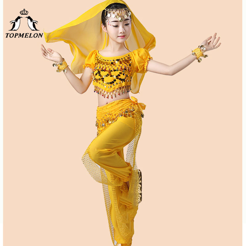 TOPMELON Carnival Bellydance Wear Gypsy Style Dancing Costume for Girls Chiffon Long Pants & Tops with Belt Sari Bracelet