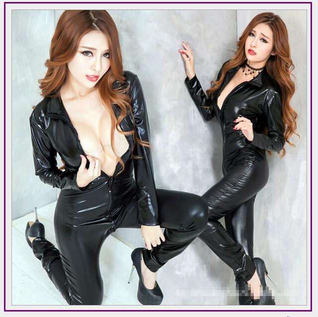 black womens bodysuit long sleeve pvc jumpsuit faux leather fetish wear stage dance wear catsuit halloween costume latex suit - Fetish Halloween