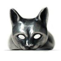 Original Design Handmade Silver Charm Cat Ring 925 Silver Personality Wild Open Kitten Ring