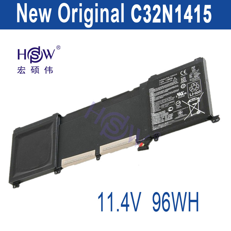 HSW Brand New 96Wh 11.4V C32N1415 Li-ion Laptop Battery For ASUS ZenBook Pro N501VW, UX501JW, UX501LW new genuine 14 4v 5200mah 74wh 8 cells a42 g55 notebook li ion battery pack for asus g55 g55v g55vm g55vw laptop
