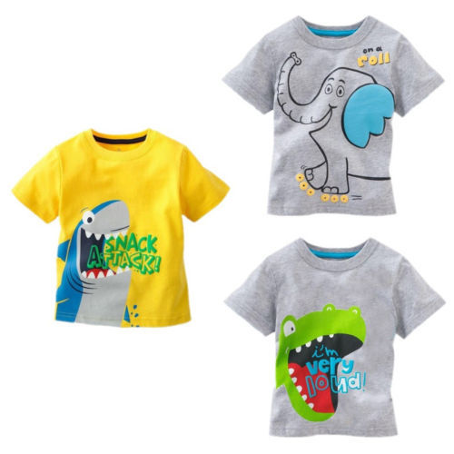 New Lovely Printting Baby Kids Boys Cartoon Tops T-shirts Summer Children's Clothing Age 1-6Y