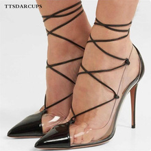 TTSDARCUPS Spring Shoe Woman New Transparent Comfortable Fasteners Ankle cross strap pumps Sexy Night Club High-heeled Sandals