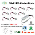 9pcs/set Mini led downlight 3W cabinet lamp  25D/60D degree spot light 30mm hole with  CE driver can dimmable Cree LED CE& ROHS