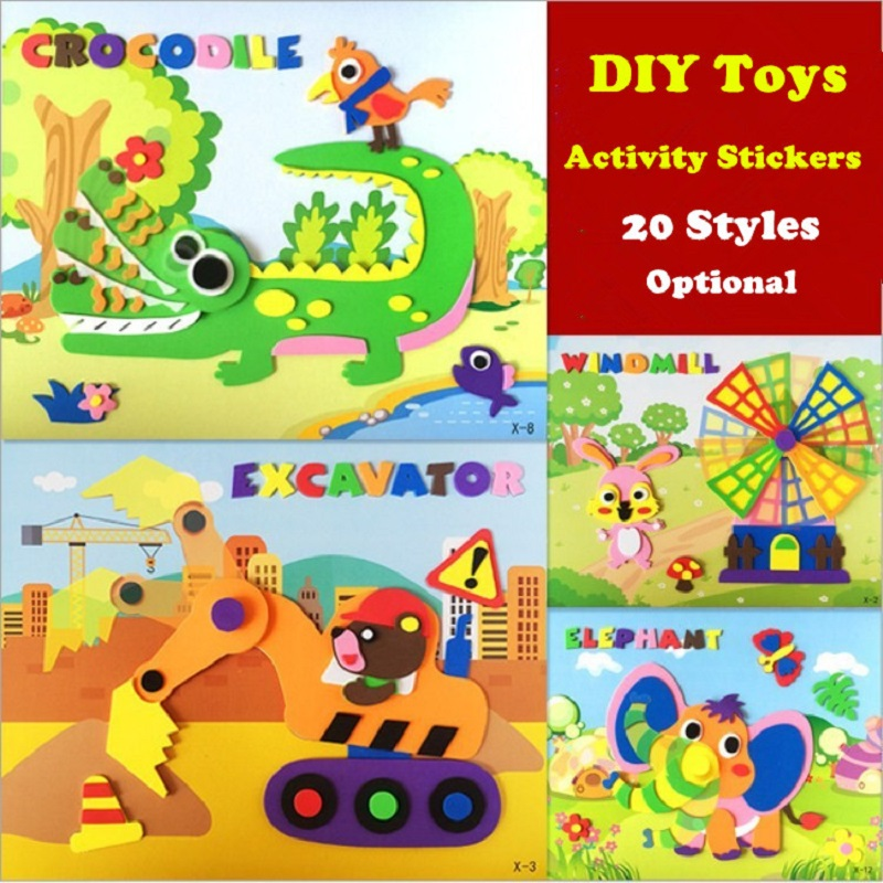 Rotatable 3D Foam Stickers DIY Movable Stickers 3D Pasting Paper Kids Puzzle Educational Toys 3D Stereo Stickers Children Gifts