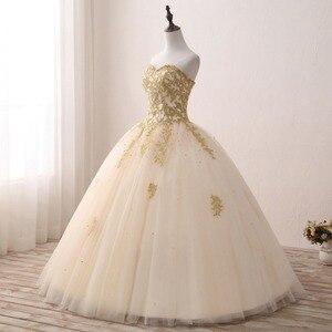 Image 3 - Gold Quinceanera Dresses Lace Appliques Beaded Ball Gown Sweet Strapless Vestidos de 15 Anos Envio Gratis Vestido De Princesa