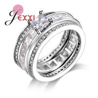 JEXXI Fashion Clear Cubic Zirconia Diamond 925 Sterling Silver Bridal Wedding Ring Set 3PCS Set Women