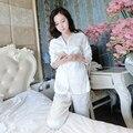 Envío libre Mujeres del Otoño Blanco Pantalones Pijamas Set Princesa ropa de Noche de Satén pijamas femininos verao
