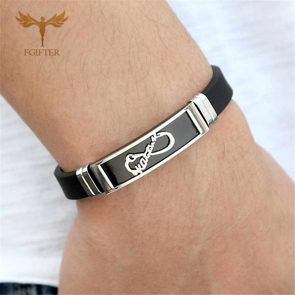 Lovers' Forever Infinity Bracelets Black Gold Color Stainless Steel Jewelry for Women Men Black Silicone 2019 Summer New Gift