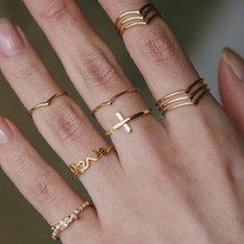 цена на 11Pcs/Set Rings for Women Cross Love Letter V Shape Stacking Knuckle Midi Finger Ring Jewelry Delicate Rings Set Gift for Lover