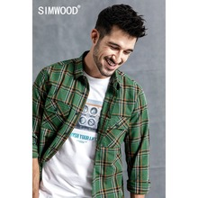SIMWOOD 2019 عارضة منقوشة قميص الرجال الخريف أزياء الشارع الشهير قمصان العلامة التجارية الملابس الذكور عالية الجودة Camisa الغمد