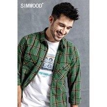 Мужская клетчатая рубашка SIMWOOD, модная повседневная рубашка высокого качества, брендовая уличная одежда, модель 190123 на осе