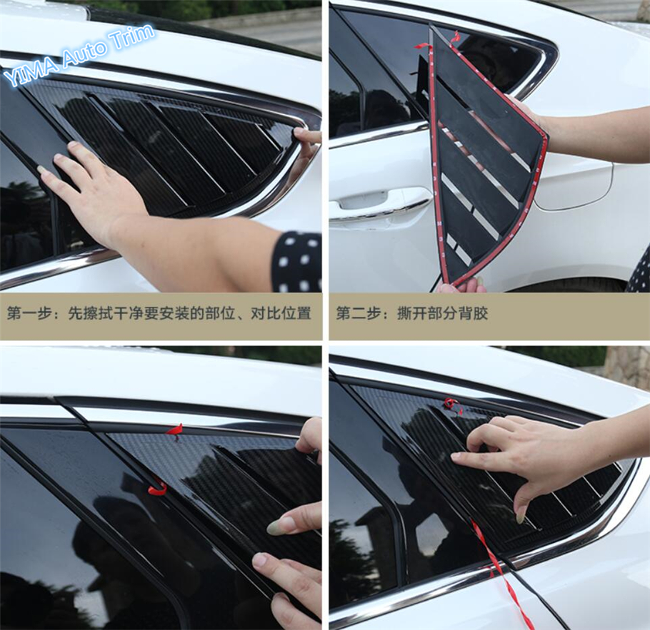 High Quality For Ford Mondeo / Fusion 2017 2018 ABS Tail Rear Outside Window Louvers Panel Cover Cover Trim 2 Pcs / Set world outside the window paper