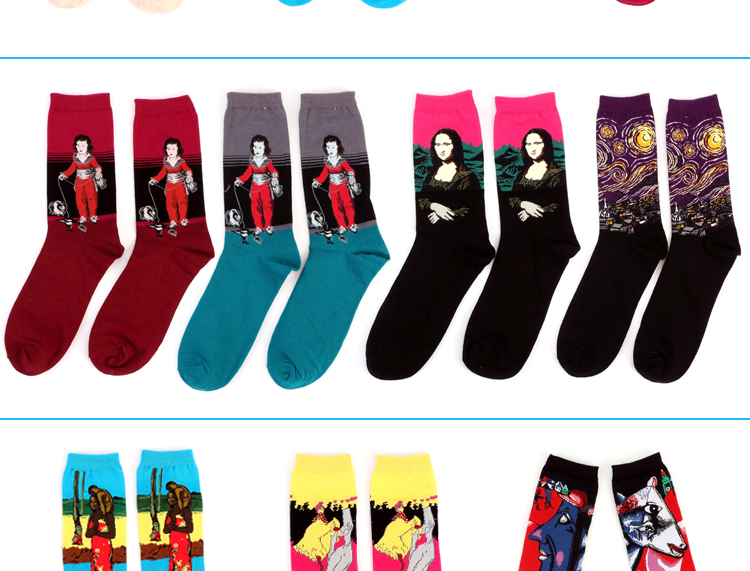 Hot Autumn winter Fashion Retro Women New Personality Art Van Gogh Mural World Famous Oil Painting Series Men Socks Funny Socks HTB1v3cWMpXXXXasXVXXq6xXFXXXh