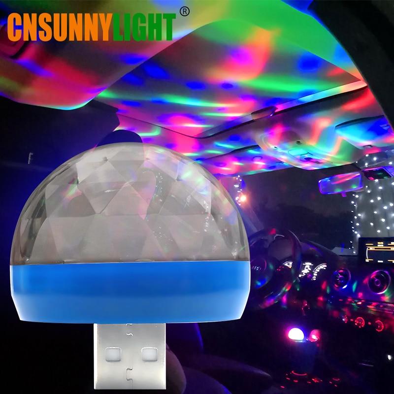 цена на CNSUNNYLIGHT LED Car USB Atmosphere Light DJ RGB Mini Colorful Music Sound Lamp for USB-C Phone Surface Enjoy Christmas Day Gift