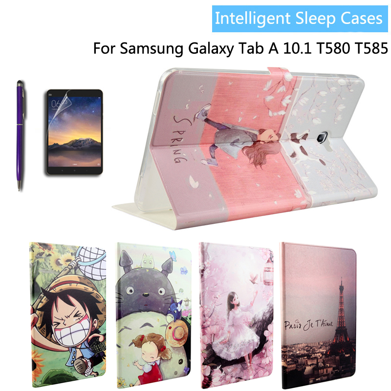 Fashion painted Pu leather stand holder Cover Case For Samsung Galaxy Tab A A6 10.1 2016 T585 T580 T580N tablet + Film + Stylus luxury flip pu leather case cover for samsung galaxy tab a 10 1 2016 t580 t585 t580n t585n tablet stand cover with card slots