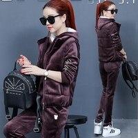 Women Suit Tracksuit Winter 3 Piece Set Hoodies + Vest + Pants Women's Costume Plus Velvet Sporting Suits Female Costume