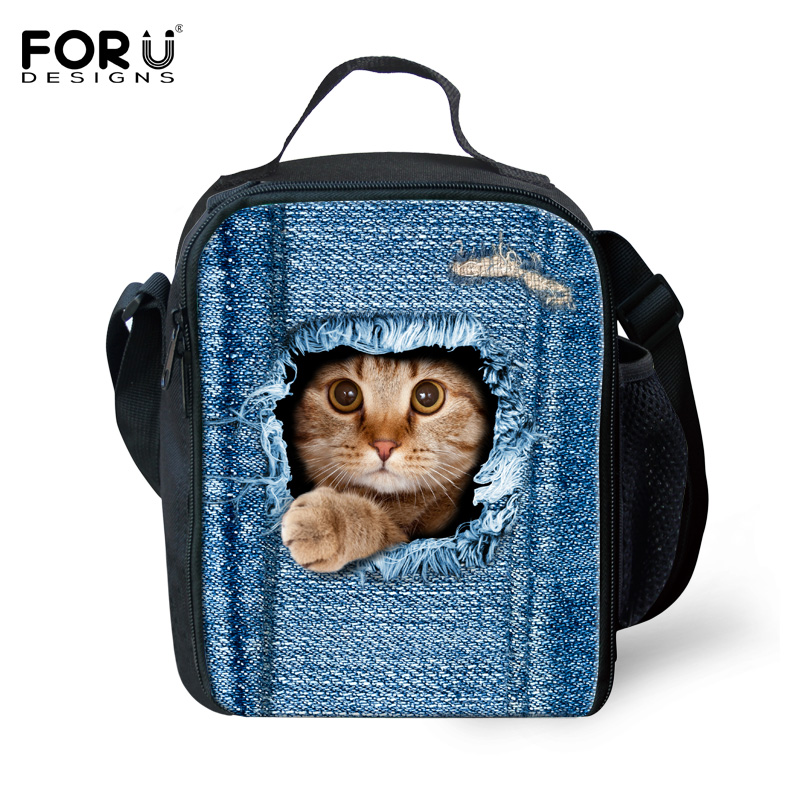 Brand Thermal Insulated Lunch Bag for Kid Cute Cat Dog Bento Lunch Box Denim Blue Portable Cooler Picnic Food Bags Lunch Storage image