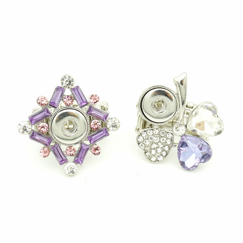 Elastic Band Purple Crystal 12mm Snap Button Ring Leaf Clover Charms DIY Interchangeable Snap Buttons Ring Jewelry for Women Men image