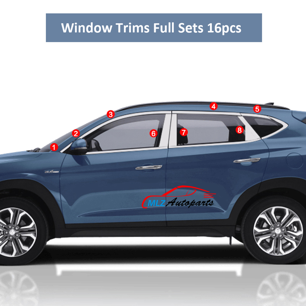 Window Sill Trim Surround Molding Cover Stainless Steel Upper Center Pillar All Full Set 16pcs For Hyundai Tucson 2016 2017 high quality car covers stainless steel full window frame sill trim with center pillars 20pcs set for jeep renegade 2015 2016