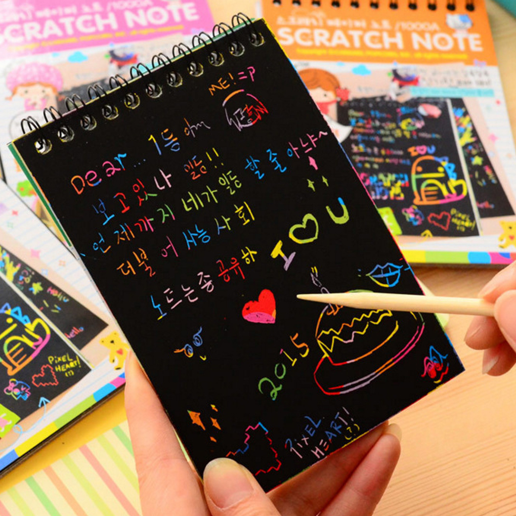 New Kids 10 Pages/1 Book Colorful Dazzle Scratch Note Sketchbook Paper Graffiti DIY Coils Drawing Book Toys Color Random