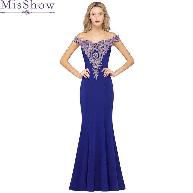 Robe de soirée 2019 élégante robe de bal sirène bleu Royal Appliques longues robes de soirée hors de l'épaule robes de soirée perlées