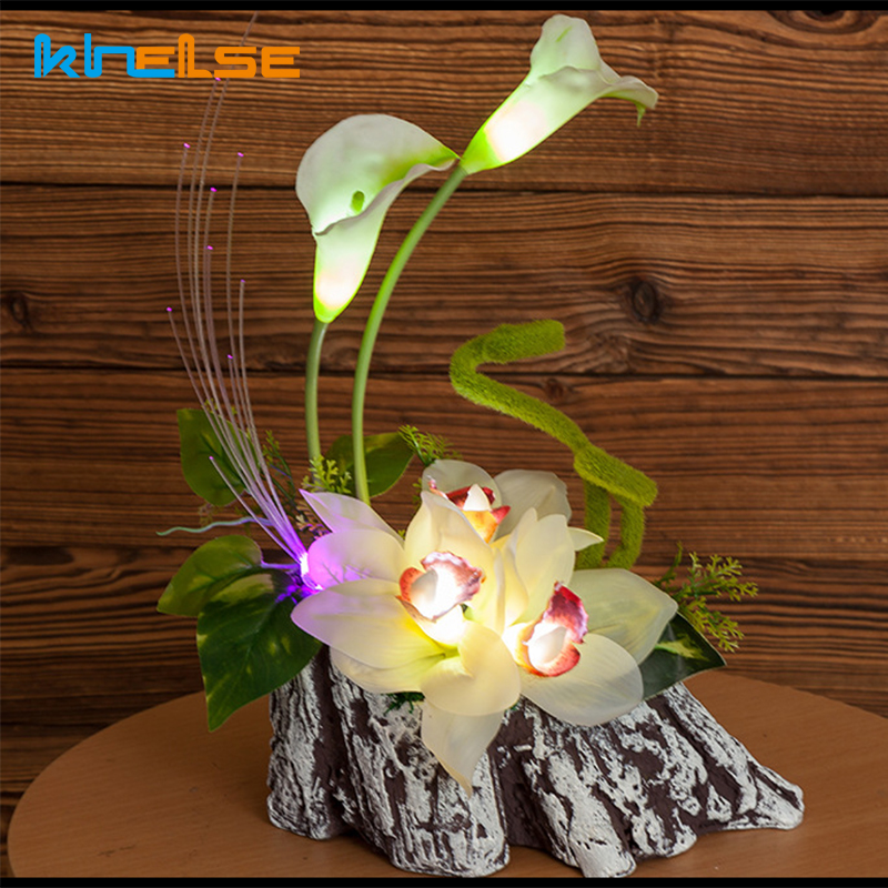 LED Night Light LED Lighted Calla Lily Artificial Table Lamps Flower Arrangement Bedside Wedding Christmas Decor Lighting 12V 1A одежда больших размеров calla lily flower j1341 6 pu j1341 6