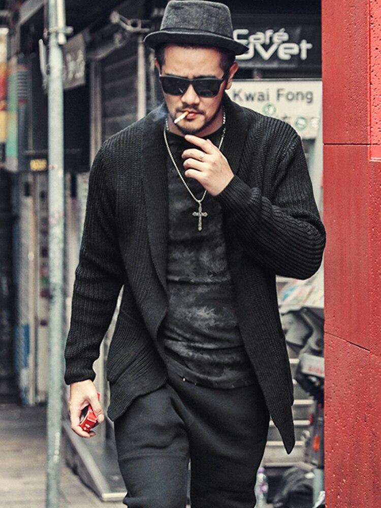 Automne et hiver nouveau noir hommes pur laine tricoté Cardigan décontracté Slim chaud Style européen à manches longues tricots J775