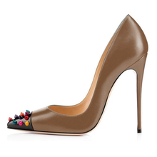 Dropshipping New Fashion Pumps Pointed Toe Thin Heels Sexy Sheepskin Leather Ladies Shoes Women Wedding D016A