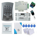 Free shipping full set door access control system kit V2000-C+ electric drop bolt lock+power supply+exit button+remote control