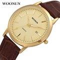 2017 woonun top brand hombres de lujo relojes banda de cuero casual de negocios relojes de cuarzo para los hombres súper delgado relojes de los hombres reloj de pulsera