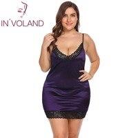 IN'VOLAND Cộng Với Kích Thước Phụ Nữ Đồ Ngủ Sexy Lingerie Dress XL-5XL Robe Đêm Ăn Mặc Ren Stretchy Satin Búp Bê Chemise Áo Ng