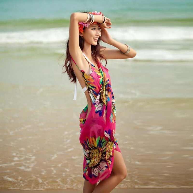 bdb5b08d46 ... Vertvie Women Chiffon Beach Tunic Sexy Beach Dresses Swim Backless Long  Dress Lady Bride Swimsuit Cover ...
