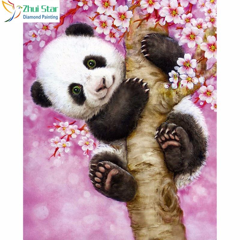 DIY 5D qëndisje Diamond kafshëve pikturë kafshëve panda foto pema e qëndisje rhinestones me vendos mozaik diamanti për bk