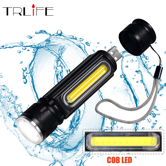 Multifunctional LED Flashlights USB Inside Rechargeable Battery Powerful T6 torch Side COB light design Flashlight tail magnet