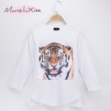 цены 2019 Special Discount Children T-shirt Tiger 3D Print Cotton Full Long Loose Boys T Shirts Girl Tops Tee Camisetas Free Shipping