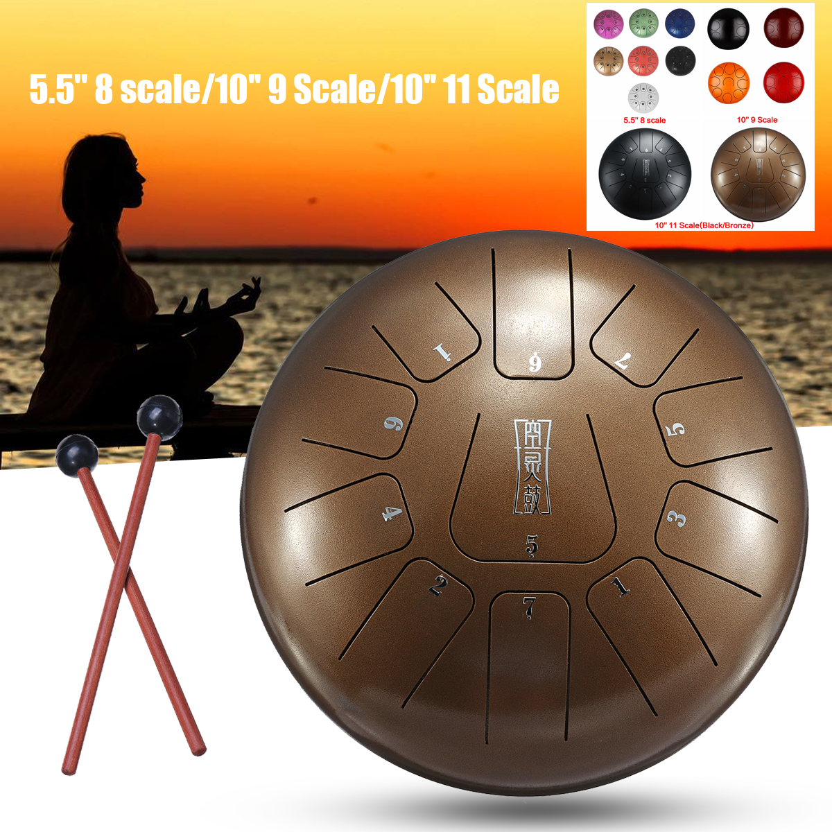 5/10 8/9 Scale Drum Set Hand pan Drums Percussion Tongue Drum with Free Bag + Mallets for Children Music Instrument Set electronic drum set stand percussion music instruments build in metronome 12 groups drum tones 43 groups accompaniment midi jack