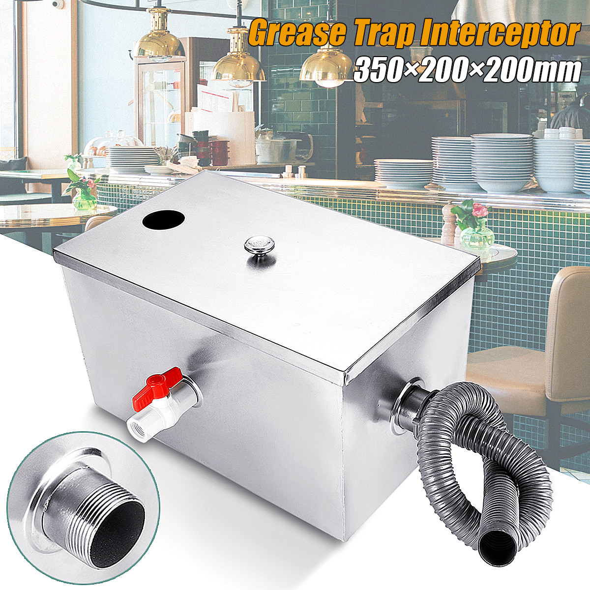 8LB 5GPM Gallons Per Minute Grease Trap Stainless Steel Interceptor Thickened for Restaurant Kitchen Wastewater