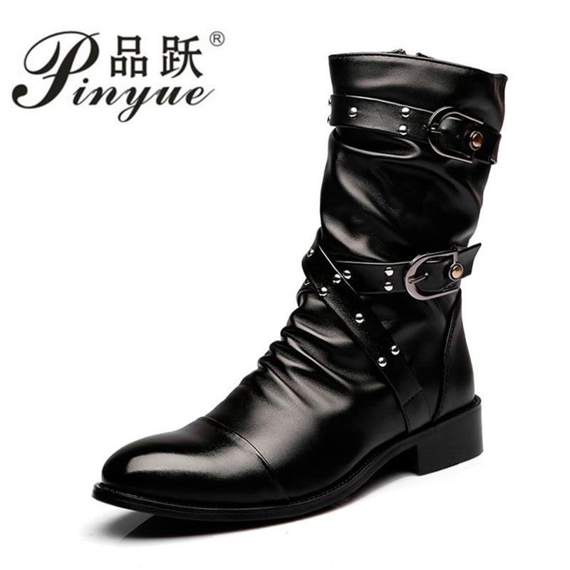 High Quality Leather Boots Men Uniform Basic Motorcycle Boots Men Mid Calf Punk Rock Black Shoes Botas Hombre size 38--44 стоимость