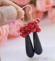 Envío libre>> S1738 10x30mm goteo negro coral rojo cuelga el pendiente