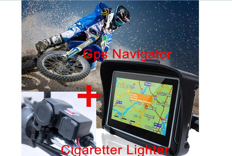 2017 upgrade 4.3 Motorcycle GPS Navigation Touchscreen Waterproof IPX7 GPS Navigation Bluetooth 8GB +Motorcycle charger USB